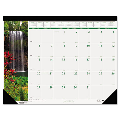 HOD1716 Small Desk Pad Calendar - Waterfalls