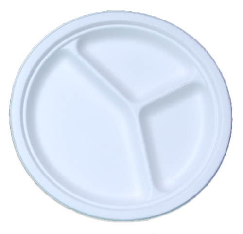 3-Compartment Bagasse Sugarcane Plates