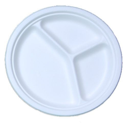 3-Compartment Bagasse Sugarcane Plates
