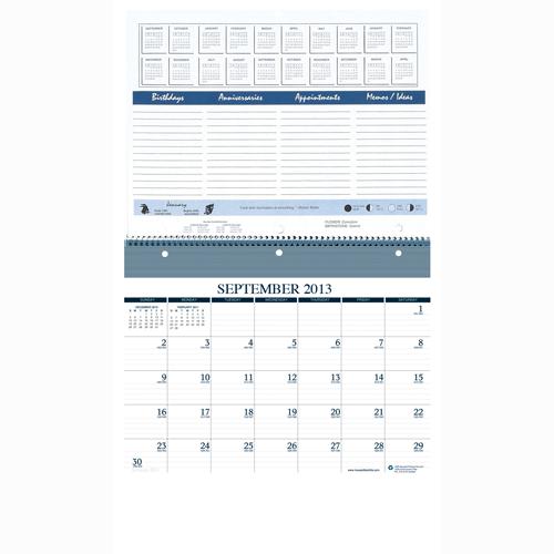 HOD325 Monthly Wall/Notebook calendar