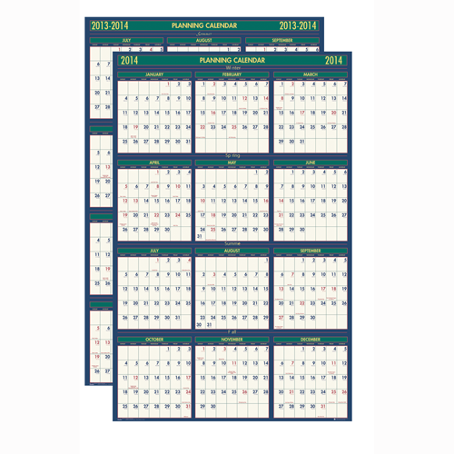 HOD391 Reversible Laminated Planner - regular or academic