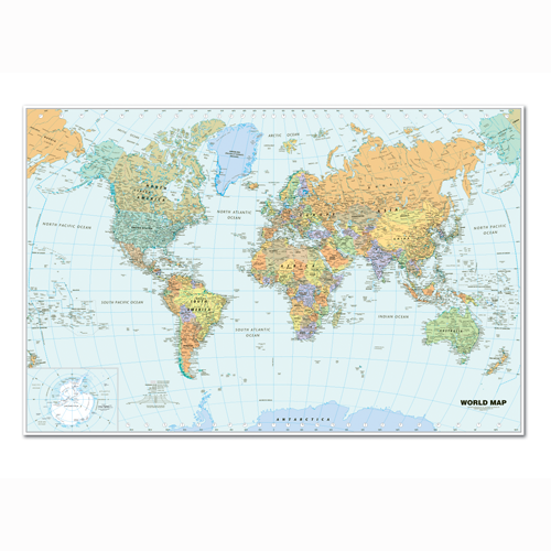 HOD711 Laminated World Map 38x25""