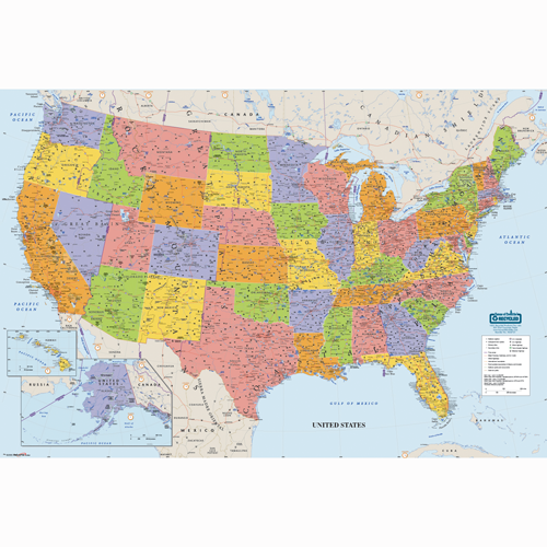 States Of United States Map.Hod720 Laminated United States Map Hod720 Greenline Paper Company