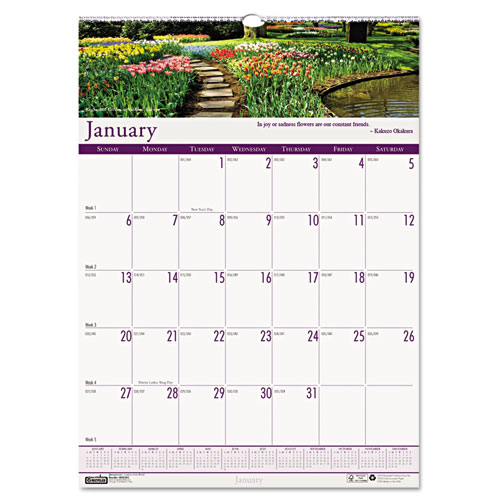HOD301 Gardens of the World Wall Calendar 12x12""