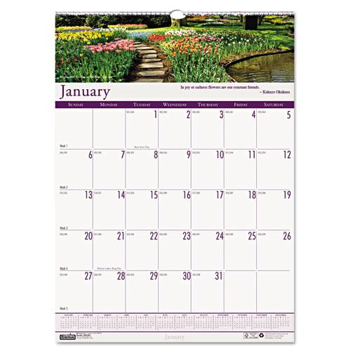 "HOD303 Gardens of the World Wall Calendar 15x22"""