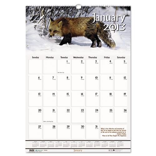 "HOD3731 Wildlife Wall Calendar 12x12"""