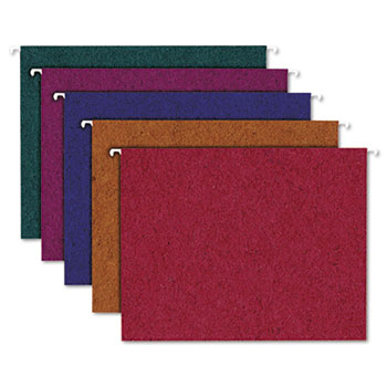 Envirotec Recycled Colored Hanging File Folders, Letter, Assorted, 20/Box