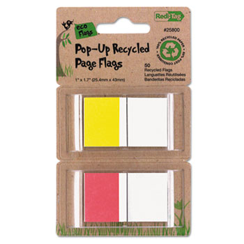 Recycled Page Flags in Pop-Up Dispenser, 1 x 1-7/10, Red/Yellow, 50 per Pack