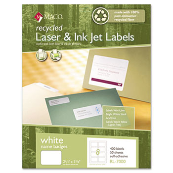 Recycled Name Badge Labels, 3-3/8 x 2-1/3, White, 400/Box