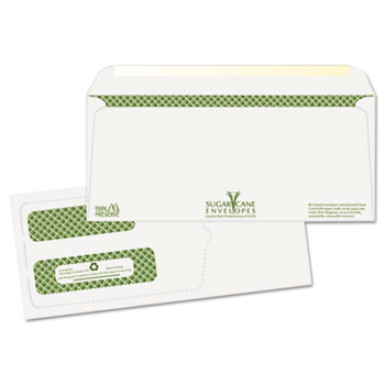 Bagasse Sugar Cane Business Envelopes, Double Window, #10, 1000/Carton