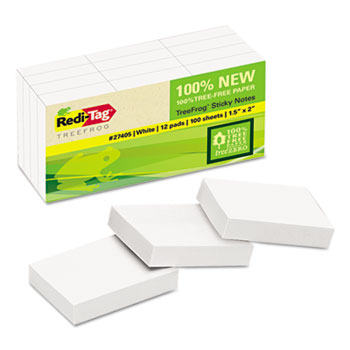 Sugar Cane Self-Stick Notes, 1 1/2 x 2, White, 100 sheets/pad, 12 pads/PK