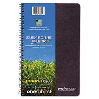 Environotes Sugarcane Notebook, 9 1/2 x 6, 1 Subj, 80 Sheets, College, Assorted