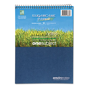 Environotes Sugarcane Notebook, 8 1/2 x 11 1/2, Flipper, 80 Sheets, College Rule
