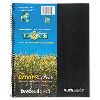 Environotes Sugarcane Notebook, 9 x 11, 2 Subj, 80 Sheets, College, Assorted