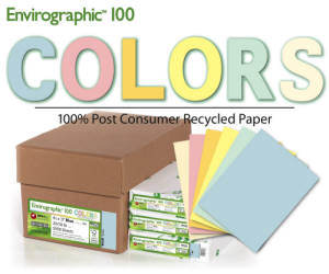 "New! - 8.5 x 11"" 30-100% Post-Recycled* Color Paper"