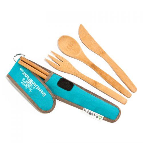 Bamboo Utensil Set w/carry case (reusable)