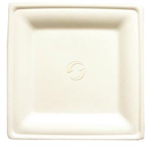 """Bagasse Square Plates - Medium (7.785 x 7.785"""")"""